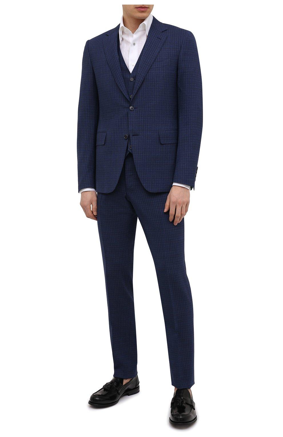 Мужской шерстяной костюм-тройка CANALI темно-синего цвета, арт. 11280/19/BR03215   Фото 1