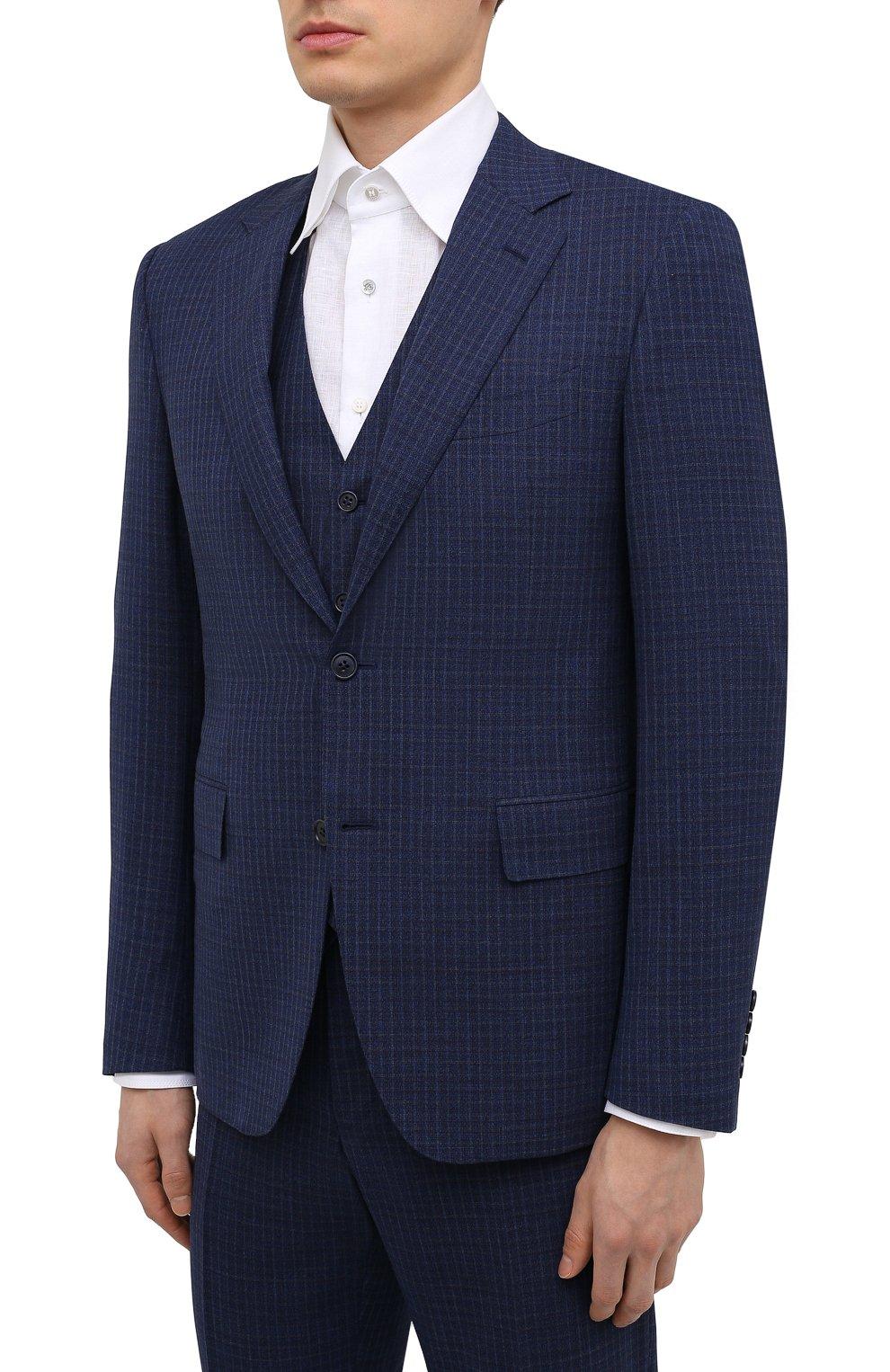 Мужской шерстяной костюм-тройка CANALI темно-синего цвета, арт. 11280/19/BR03215   Фото 2