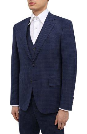 Мужской шерстяной костюм-тройка CANALI темно-синего цвета, арт. 11280/19/BR03215 | Фото 2