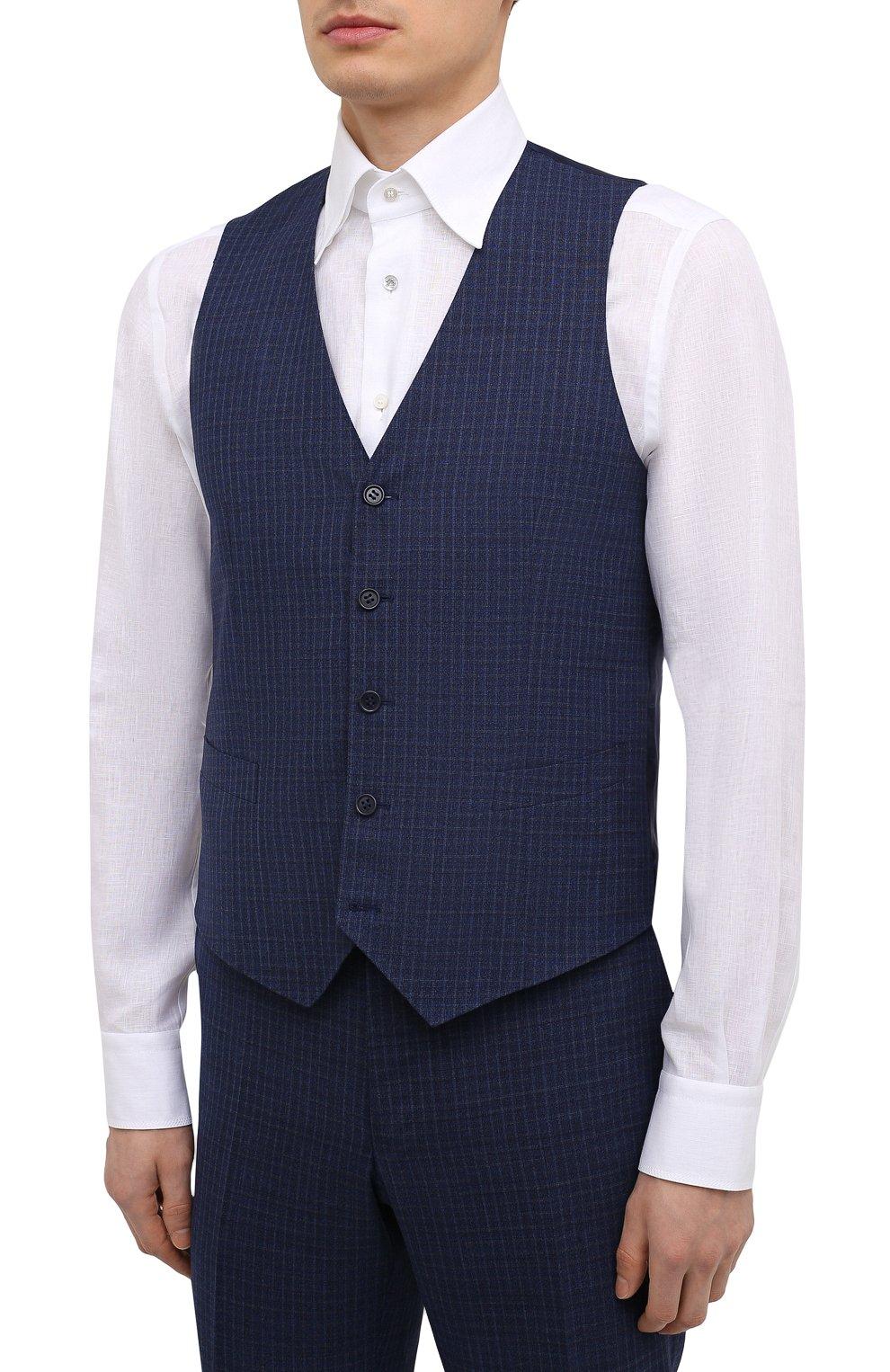 Мужской шерстяной костюм-тройка CANALI темно-синего цвета, арт. 11280/19/BR03215   Фото 6