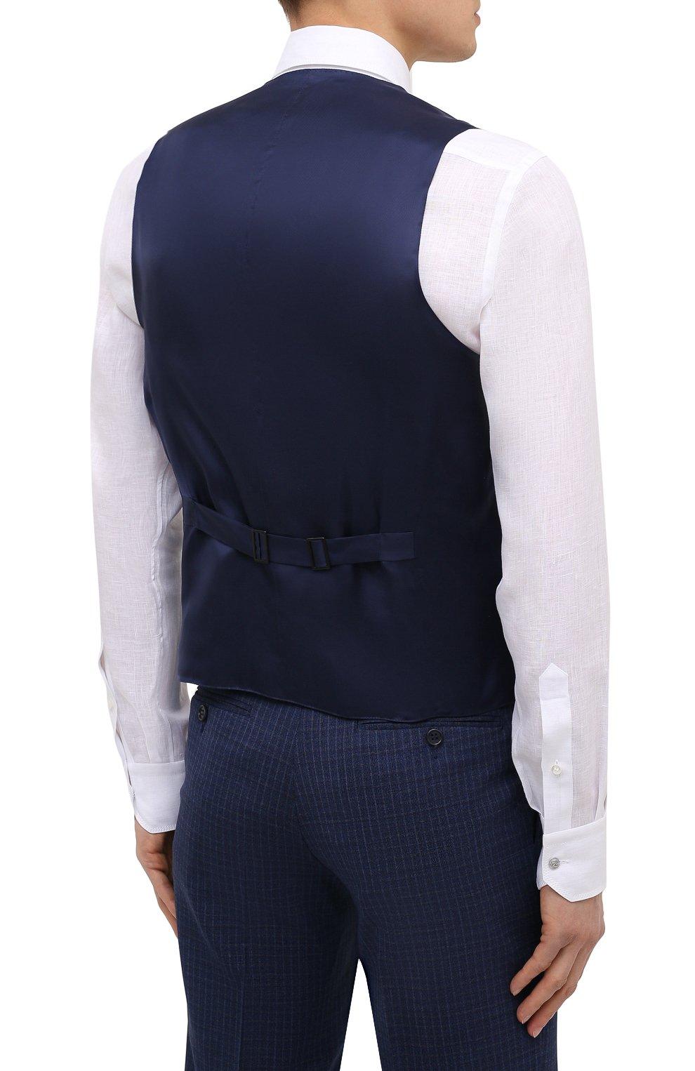 Мужской шерстяной костюм-тройка CANALI темно-синего цвета, арт. 11280/19/BR03215   Фото 7