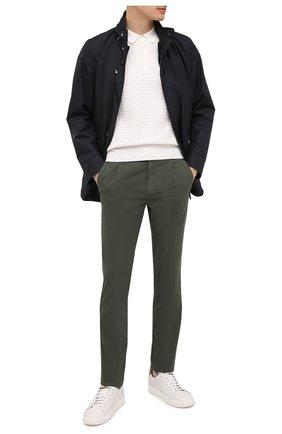 Мужские хлопковые брюки CANALI зеленого цвета, арт. 91608/PY00674   Фото 2