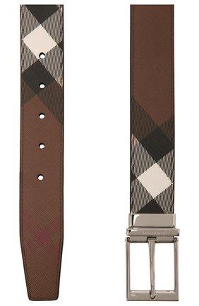 Мужской комбинированный ремень BURBERRY коричневого цвета, арт. 8036958 | Фото 2