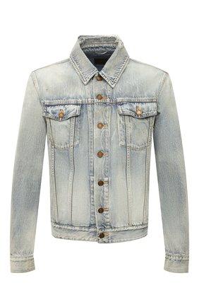 Мужская джинсовая куртка SAINT LAURENT голубого цвета, арт. 627584/Y820L | Фото 1 (Длина (верхняя одежда): Короткие; Кросс-КТ: Деним, Куртка; Материал внешний: Хлопок, Деним; Рукава: Длинные; Стили: Гранж)