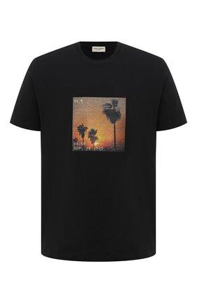 Мужская хлопковая футболка SAINT LAURENT черного цвета, арт. 646354/Y36AC | Фото 1 (Длина (для топов): Стандартные; Материал внешний: Хлопок; Стили: Гранж; Рукава: Короткие; Принт: С принтом)