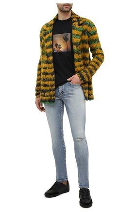 Мужская хлопковая футболка SAINT LAURENT черного цвета, арт. 646354/Y36AC | Фото 2 (Длина (для топов): Стандартные; Материал внешний: Хлопок; Стили: Гранж; Рукава: Короткие; Принт: С принтом)