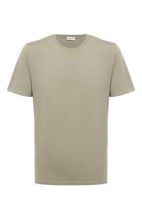 Мужская хлопковая футболка SAINT LAURENT хаки цвета, арт. 646123/Y2ZJ2   Фото 1