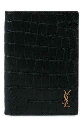 Мужской кожаная обложка для паспорта SAINT LAURENT черного цвета, арт. 607659/DZEDW | Фото 1