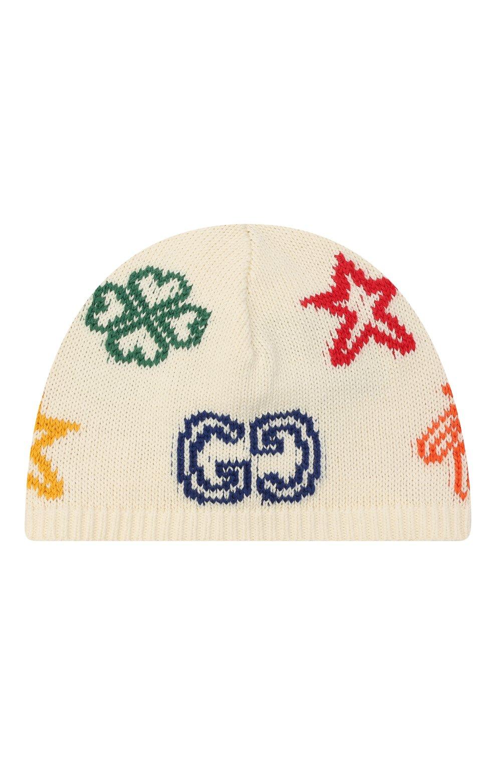 Детского хлопковая шапка GUCCI бежевого цвета, арт. 643539/3K111 | Фото 1 (Материал: Текстиль, Хлопок)