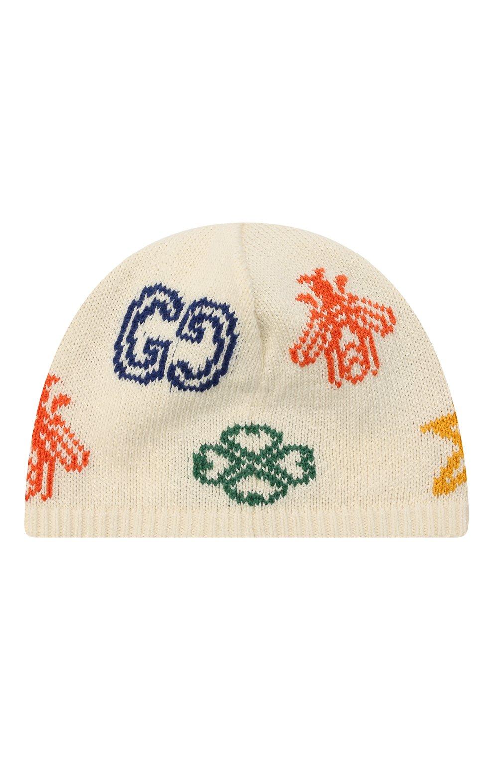 Детского хлопковая шапка GUCCI бежевого цвета, арт. 643539/3K111 | Фото 2 (Материал: Текстиль, Хлопок)