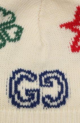 Детского хлопковая шапка GUCCI бежевого цвета, арт. 643539/3K111 | Фото 3 (Материал: Текстиль, Хлопок)