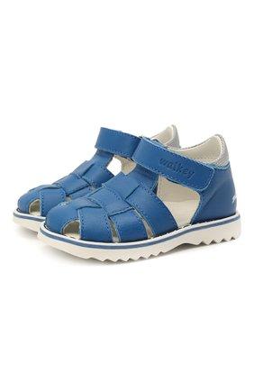 Детские кожаные сандалии WALKEY синего цвета, арт. Y1B2-41297-0030 | Фото 1