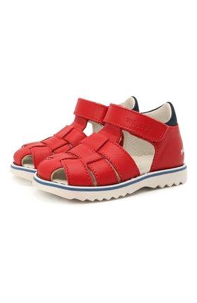 Детские кожаные сандалии WALKEY красного цвета, арт. Y1B2-41297-0030 | Фото 1 (Материал внутренний: Натуральная кожа)