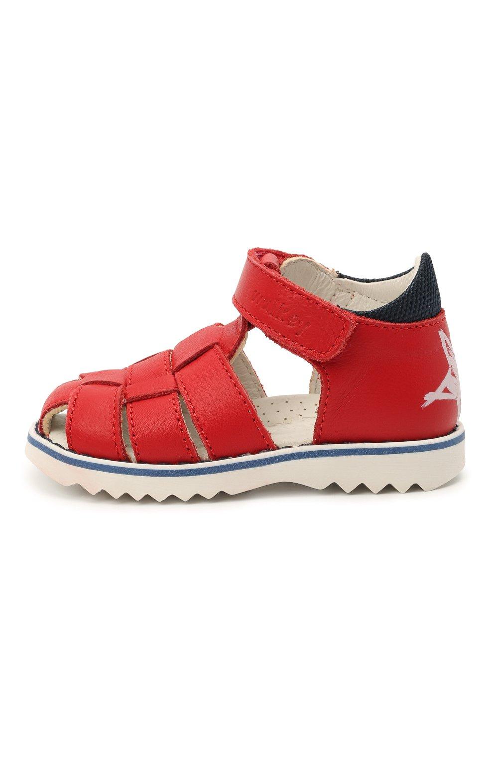 Детские кожаные сандалии WALKEY красного цвета, арт. Y1B2-41297-0030 | Фото 2 (Материал внутренний: Натуральная кожа)