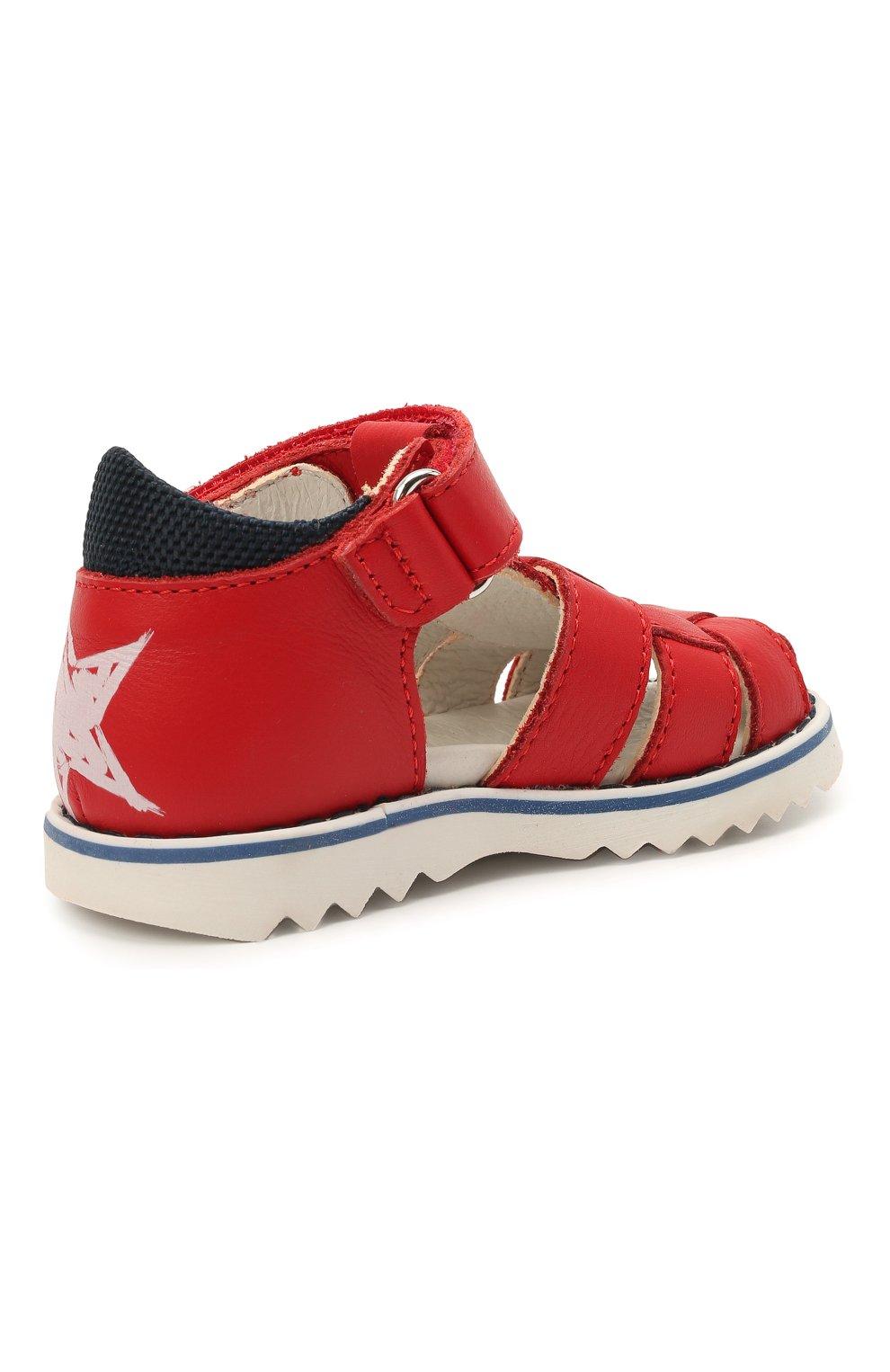 Детские кожаные сандалии WALKEY красного цвета, арт. Y1B2-41297-0030 | Фото 3 (Материал внутренний: Натуральная кожа)