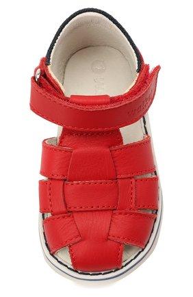 Детские кожаные сандалии WALKEY красного цвета, арт. Y1B2-41297-0030 | Фото 4 (Материал внутренний: Натуральная кожа)