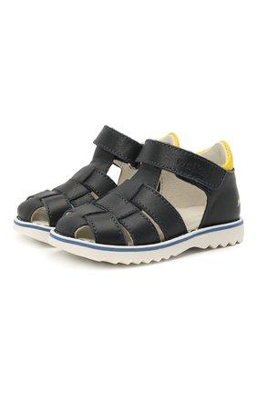 Детские кожаные сандалии WALKEY темно-синего цвета, арт. Y1B2-41297-0030 | Фото 1