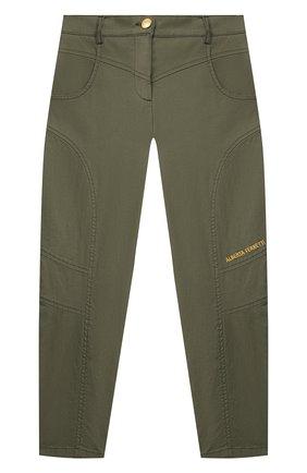 Детские хлопковые брюки ALBERTA FERRETTI JUNIOR зеленого цвета, арт. 027850 | Фото 1