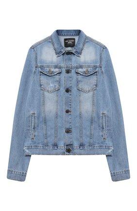 Детского джинсовая куртка NEIL BARRETT KIDS синего цвета, арт. 027898 | Фото 1