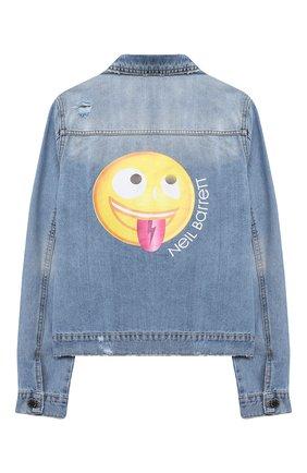 Детского джинсовая куртка NEIL BARRETT KIDS синего цвета, арт. 027898 | Фото 2