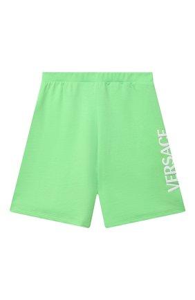 Детские хлопковые шорты VERSACE зеленого цвета, арт. 1000221/1A00287/8A-14A | Фото 1