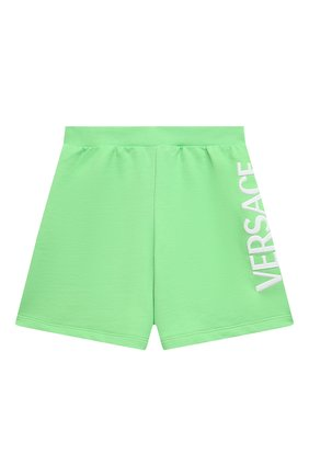 Детские хлопковые шорты VERSACE зеленого цвета, арт. 1000221/1A00287/4A-6A | Фото 1