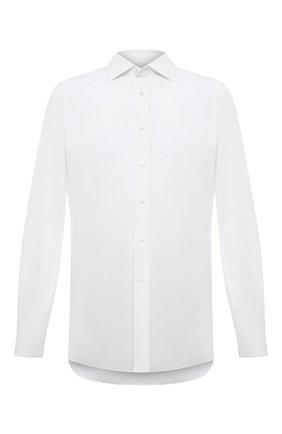 Мужская сорочка из хлопка и льна BRIONI белого цвета, арт. RCL400/P708Y | Фото 1 (Материал внешний: Лен, Хлопок; Случай: Формальный; Манжеты: На пуговицах; Воротник: Акула; Стили: Классический; Рубашки М: Classic Fit; Рукава: Длинные; Длина (для топов): Стандартные; Принт: Однотонные)