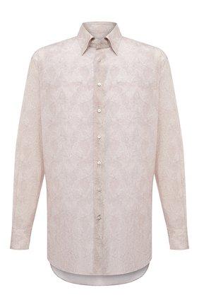 Мужская рубашка из шелка и хлопка ZILLI светло-бежевого цвета, арт. MFV-84080-G11614/0009/45-49 | Фото 1 (Принт: С принтом; Стили: Классический; Рубашки М: Regular Fit; Материал внешний: Шелк, Хлопок; Воротник: Кент; Манжеты: На пуговицах; Рукава: Длинные; Случай: Формальный; Длина (для топов): Стандартные)