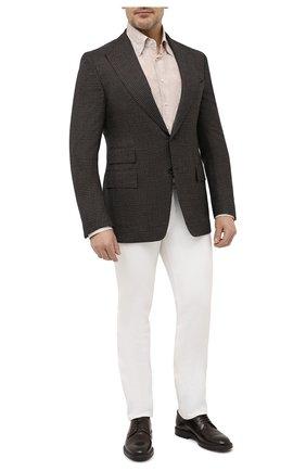 Мужская рубашка из шелка и хлопка ZILLI светло-бежевого цвета, арт. MFV-84080-G11614/0009/45-49 | Фото 2 (Принт: С принтом; Стили: Классический; Рубашки М: Regular Fit; Материал внешний: Шелк, Хлопок; Воротник: Кент; Манжеты: На пуговицах; Рукава: Длинные; Случай: Формальный; Длина (для топов): Стандартные)