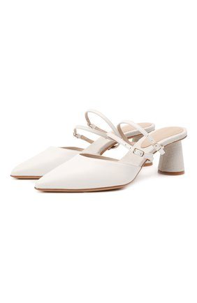 Женские кожаные мюли basgia JACQUEMUS белого цвета, арт. 211F006/401100 | Фото 1
