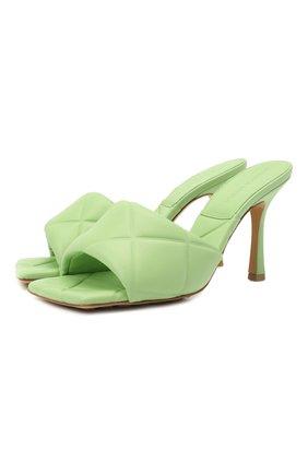 Женские кожаные мюли bv rubber BOTTEGA VENETA светло-зеленого цвета, арт. 639943/VBP30 | Фото 1