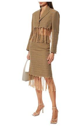 Женские кожаные босоножки stretch BOTTEGA VENETA бежевого цвета, арт. 651385/VBSF0 | Фото 2