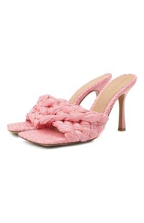 Женские текстильные мюли stretch BOTTEGA VENETA розового цвета, арт. 652451/V0GM0   Фото 1