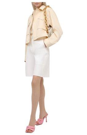 Женские текстильные мюли stretch BOTTEGA VENETA розового цвета, арт. 652451/V0GM0   Фото 2