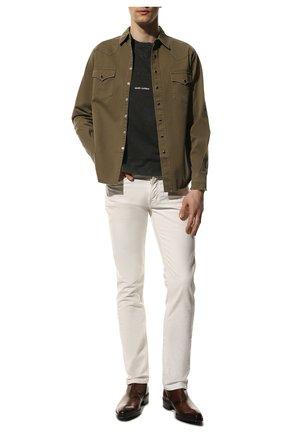 Мужская хлопковая рубашка SAINT LAURENT хаки цвета, арт. 629966/Y596V | Фото 2 (Материал внешний: Хлопок; Длина (для топов): Стандартные; Манжеты: На кнопках; Случай: Повседневный; Стили: Кэжуэл; Рукава: Длинные; Принт: Однотонные; Воротник: Кент)