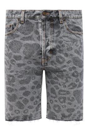 Мужские джинсовые шорты SAINT LAURENT серого цвета, арт. 638547/Y823E | Фото 1 (Принт: С принтом; Материал внешний: Хлопок; Длина Шорты М: До колена; Стили: Гламурный; Кросс-КТ: Деним)