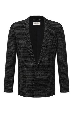 Мужской пиджак из шерсти и вискозы SAINT LAURENT черного цвета, арт. 644409/Y1C81 | Фото 1