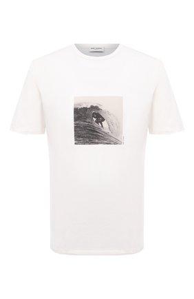 Мужская хлопковая футболка SAINT LAURENT белого цвета, арт. 650539/Y36AH | Фото 1 (Длина (для топов): Стандартные; Материал внешний: Хлопок; Рукава: Короткие; Стили: Гранж; Принт: С принтом)