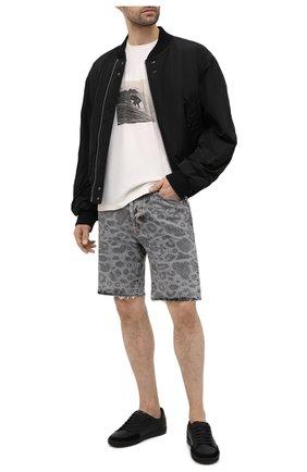 Мужская хлопковая футболка SAINT LAURENT белого цвета, арт. 650539/Y36AH | Фото 2 (Длина (для топов): Стандартные; Материал внешний: Хлопок; Рукава: Короткие; Стили: Гранж; Принт: С принтом)