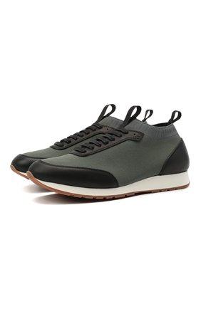 Мужские комбинированные кроссовки BRIONI темно-зеленого цвета, арт. QHL10L/09714 | Фото 1 (Материал внутренний: Натуральная кожа, Текстиль; Стили: Классический; Подошва: Плоская; Материал внешний: Текстиль)