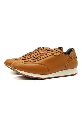 Мужские кожаные кроссовки BRIONI бежевого цвета, арт. QHI90L/P9726   Фото 1 (Материал внутренний: Натуральная кожа; Подошва: Массивная; Стили: Классический)