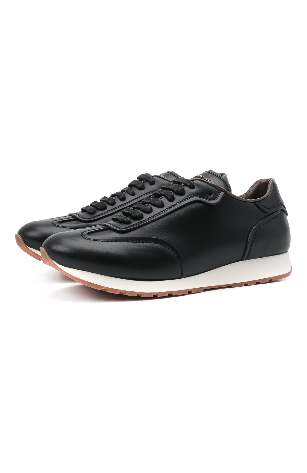 Мужские кожаные кроссовки BRIONI черного цвета, арт. QHI90L/P9726   Фото 1