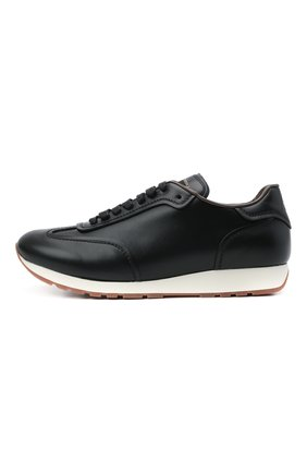 Мужские кожаные кроссовки BRIONI черного цвета, арт. QHI90L/P9726   Фото 3