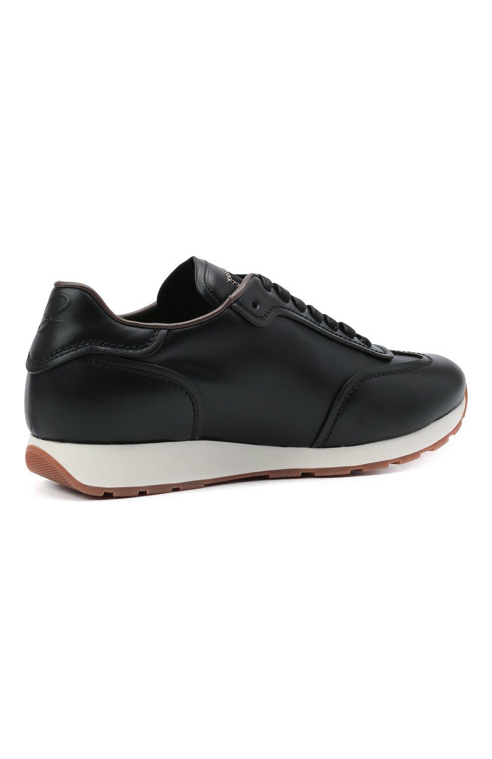 Мужские кожаные кроссовки BRIONI черного цвета, арт. QHI90L/P9726   Фото 4