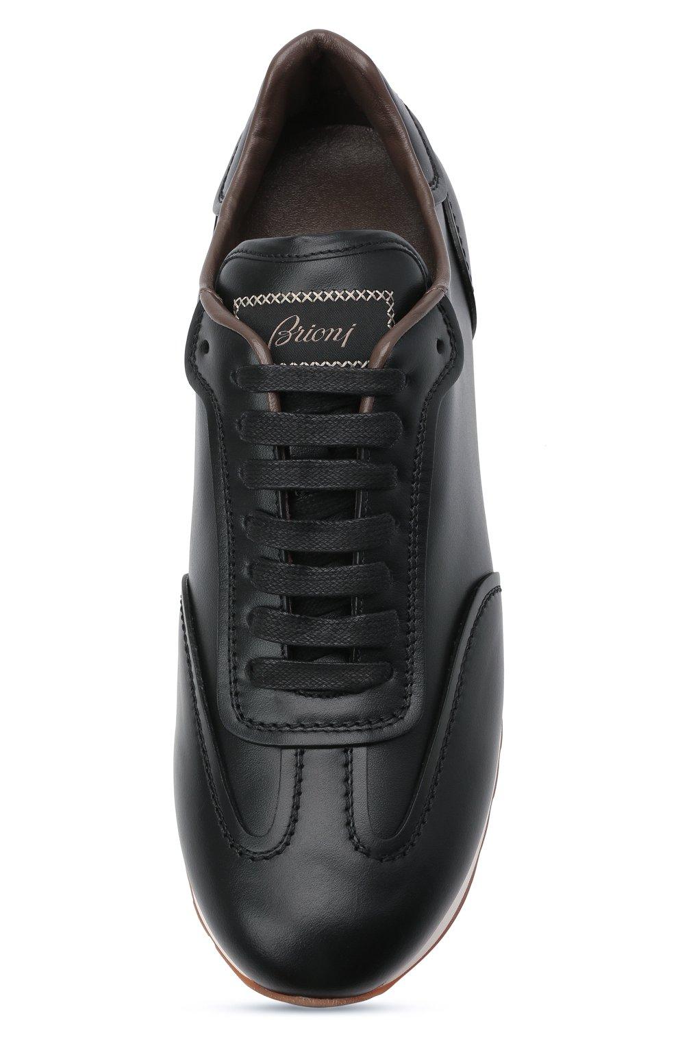 Мужские кожаные кроссовки BRIONI черного цвета, арт. QHI90L/P9726   Фото 5