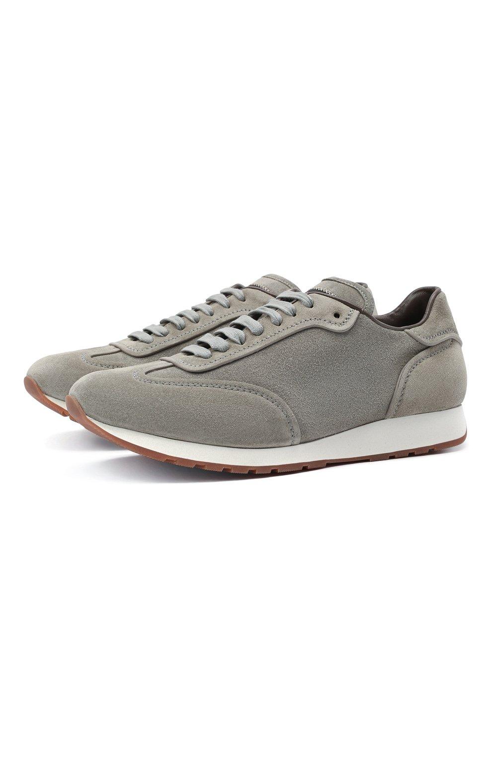 Мужские замшевые кроссовки BRIONI серого цвета, арт. QHI90L/P0711   Фото 1