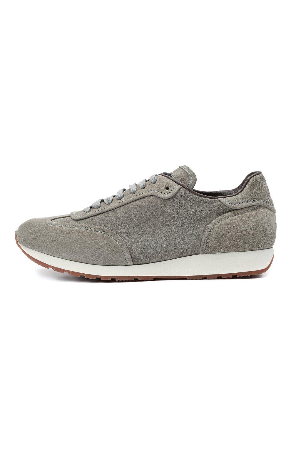 Мужские замшевые кроссовки BRIONI серого цвета, арт. QHI90L/P0711   Фото 3