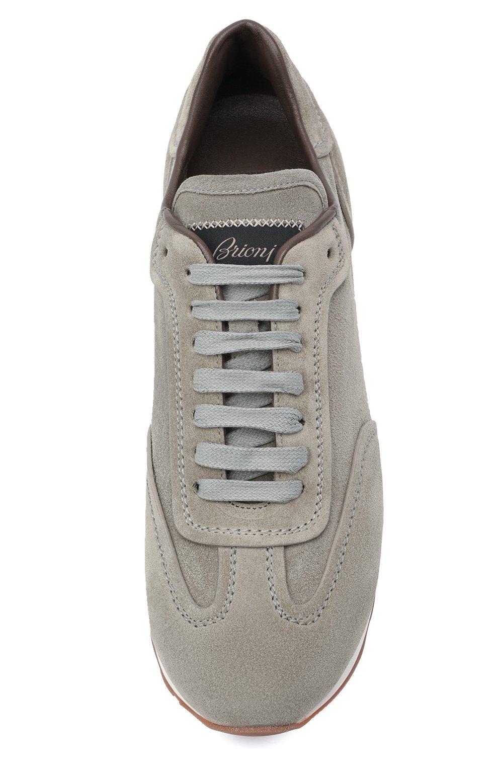 Мужские замшевые кроссовки BRIONI серого цвета, арт. QHI90L/P0711   Фото 5