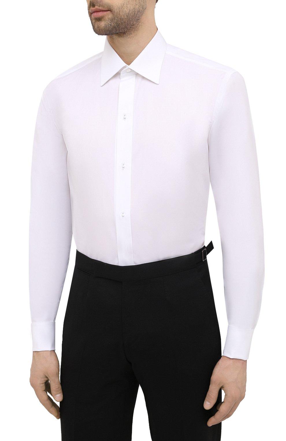 Мужская хлопковая сорочка BRIONI белого цвета, арт. RCXD0L/P006B | Фото 3