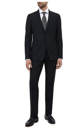 Мужские кожаные пенни-лоферы SANTONI темно-синего цвета, арт. MCQU13207LA3S0RMU48 | Фото 2 (Стили: Классический; Материал внутренний: Натуральная кожа)